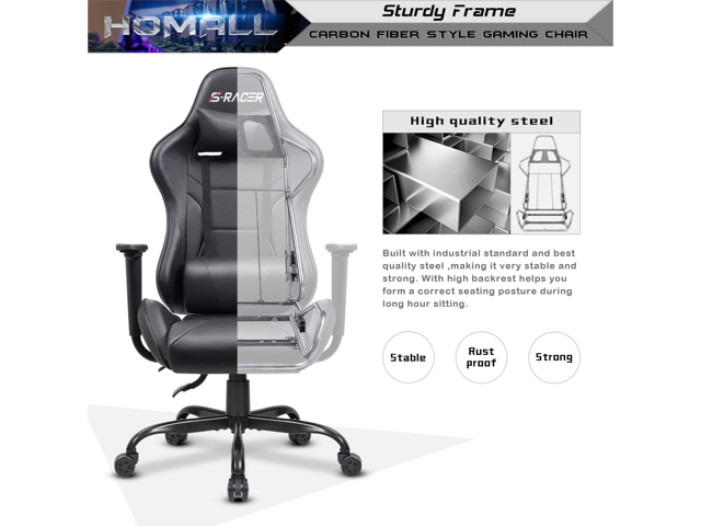 Homall Office Gaming Chair Carbon PU Leather Reclining Black Racing Style, Executive Ergonomic Hydraulic Swivel Seat with Headrest and Lumbar Support