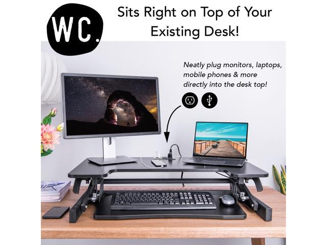 "Smart-Lift 36"" Height Adjustable Standing Desk Converter with Built-In Power Hub - 2 Outlet, 2 USB Port – Sit to Stand Desk - Black"