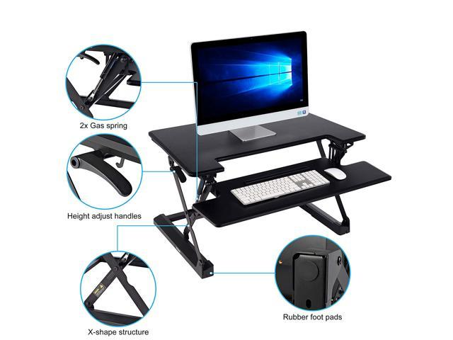 Standing Desk Converter Riser with Keyboard Tray,Height Adjustable 35inch Desktop for Dual Monitors,Sit to Stand up Gas Spring Ergonomic Desk Workstation Desktop Lifter,Black
