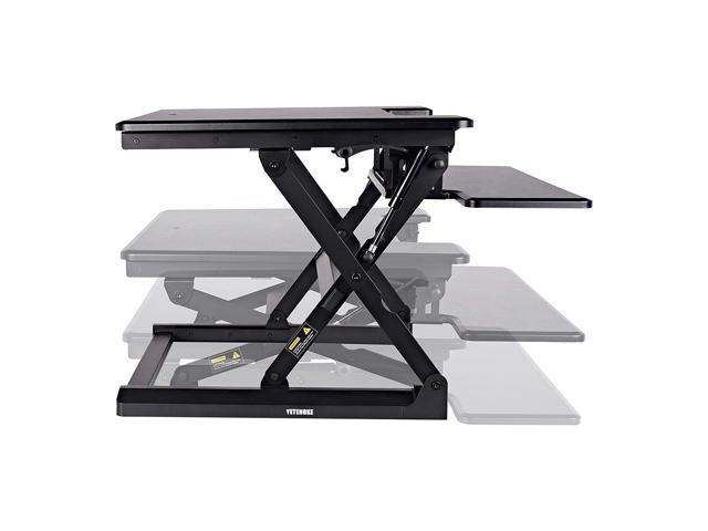 "Height Adjustable Standing Desk Converter Riser, 27""Wide Height-Adjustable Standing Desk with Removable Keyboard Tray, Sit to Stand up Desktop Workstation Monitor Riser with Gas Spring Black"