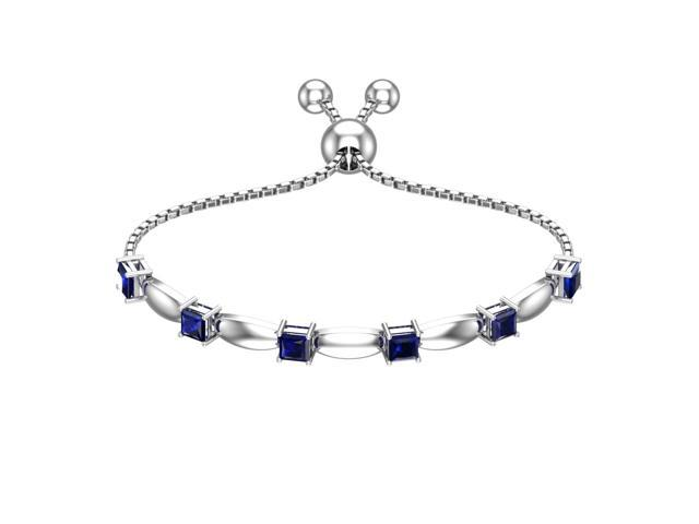 Solid Sterling Silver 4mm Square Shape Lab-grown Blue Sapphire Bracelet with Silicon Bead Clasp