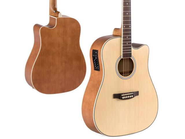 Best Choice Products 41in Full Size Acoustic Electric Cutaway Guitar Set w/ 10-Watt Amp, Capo, E-Tuner, Case - Natural