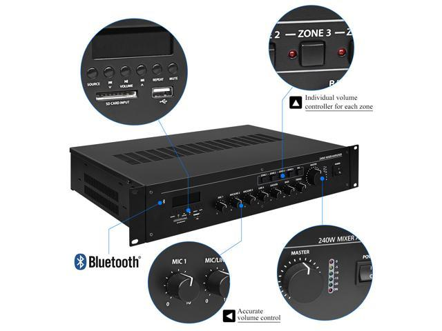 CAMPOTECH Professional Audio Wireless Power Amplifier at 8-16O Mixer Amplifier Mulit-Channel Rack Mount Bridgeable, LED Indicators, Shockproof Binding Posts