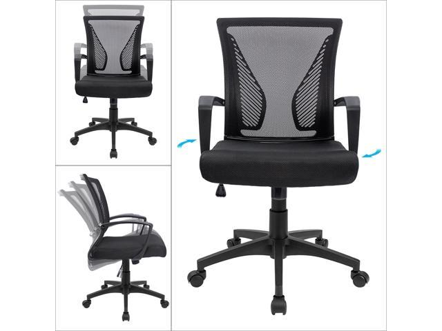 Furmax Office Chair Mid Back Swivel Lumbar Support Desk Chair, Computer Ergonomic Mesh Chair With Armrest (Black)