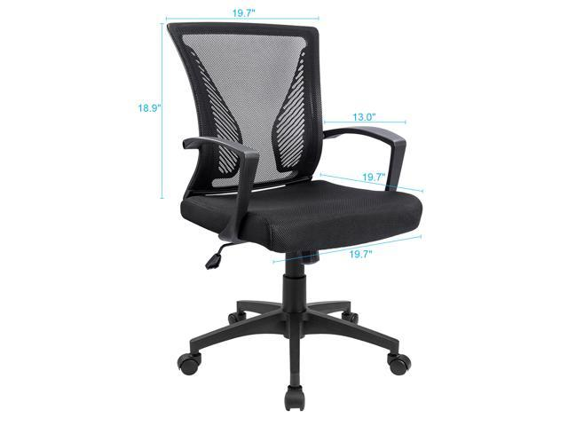 Furmax Office Chair Mid Back Swivel Lumbar Support Computer Ergonomic Mesh Seat With Armrest (Black)