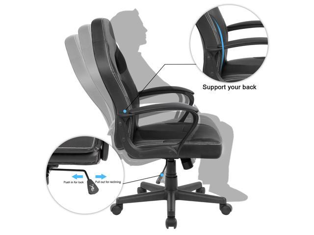 Furmax Office Gaming Chair PU Leather Desk Chair, High Back Ergonomic Racing Chair, Executive Swivel Computer Chair with Headrest and Lumbar Support (Black)