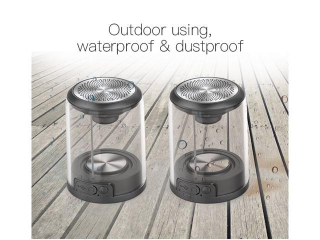 WEIMISEN Portable Mini Bluetooth Speaker, Stereo Dual Twin Audio with Strong Bass and Powerful Volume, TWS real wireless waterproof magnetically sucked Bluetooth sound box, Transparent shell