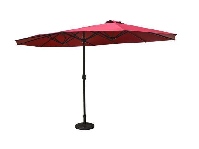 Aok Garden 15ft Double Sided Market Outdoor Umbrella Aluminum Table Patio With Crank Burgundy