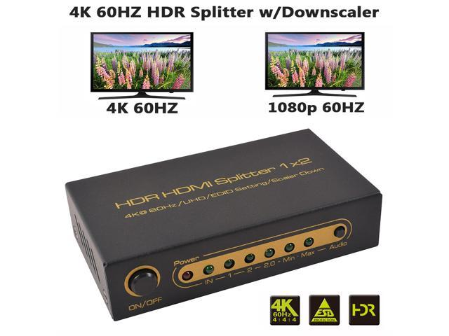 XOLORspace S102 1 in 2 out 4K 60hz HDR HDMI splitter with downscaler outputs to 4k 60hz and 1080p 60HZ simultaneously, 2 port HDMI splitter HDCP 2.2 4K 60HZ 4:4:4 8 bit HDR