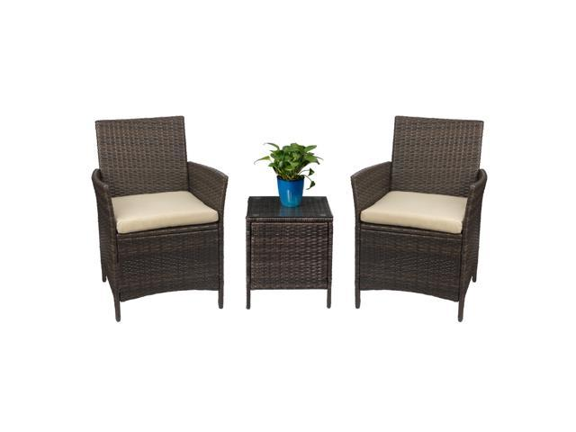 Devoko Patio Porch Furniture Set 3 Piece PE Rattan Wicker Chairs Beige Cushion With Table Outdoor Garden Furniture Sets (Rattan, Brown)