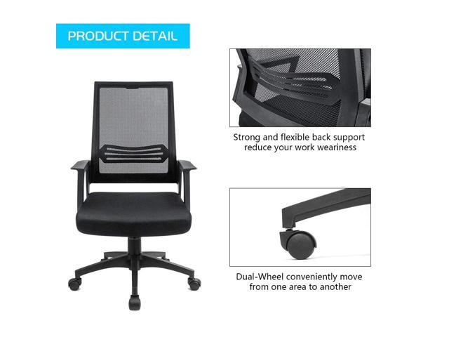 Devoko Mid Back Mesh Desk Chair Height Adjustable with Armrest Swivel Office Chair Lumbar Support Computer Chair (Black)