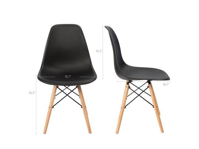 Devoko Set of 4 Mid Century Modern Style Pre Assembled Dining Chair DSW Classic Plastic Side Chair Armless Living Room Chairs (Black)