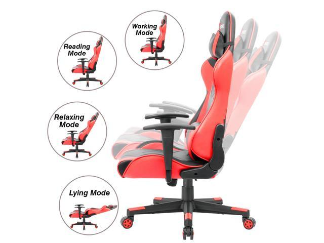 Devoko Ergonomic Gaming Chair Racing Style Adjustable Height High-back PC Computer Chair With Headrest and Lumbar Massage Support  (Red)