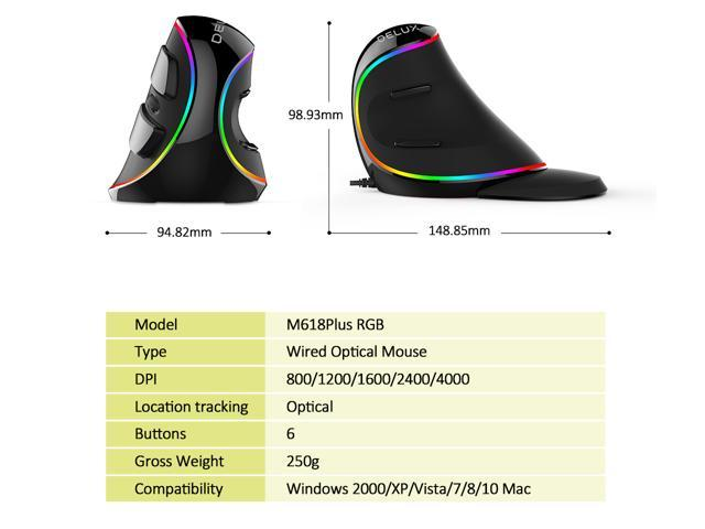 Delux Ergonomic Vertical Wired Optical Mouse with RGB Lighting, Removable Palm Rest, 4000DPI for PC, Computer, Laptop, Black(M618Plus RGB)