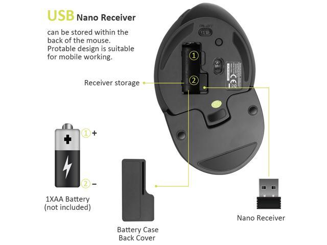 Delux Ergonomic Vertical 2.4G Wireless Optical Mouse with 3 Adjustable DPI(800/1200/1600), 6 Buttons, with Removable Palm Rest, for PC, Laptop, Computer, Black (M618Plus Wireless)