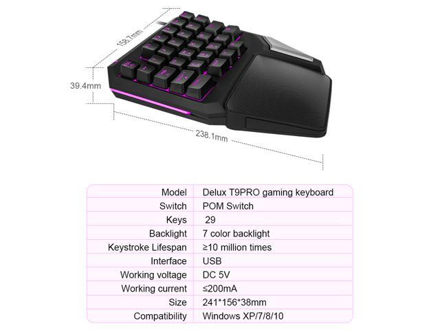 Delux One Handed Gaming Keyboard , Single handed Ergonomic Keyboard with 7 Color Backlit, 30 Buttons and Rubber Large Palm Rest(T9 PRO-Black)