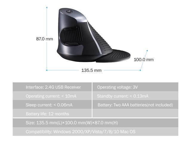 Delux Wireless Vertical Ergonomic Mouse, Wireless Vertical Optical Mouse with 3 Adjustable DPI(800/1200/1600), 6 Buttons and Removable Palm rest(M618GX-Black)