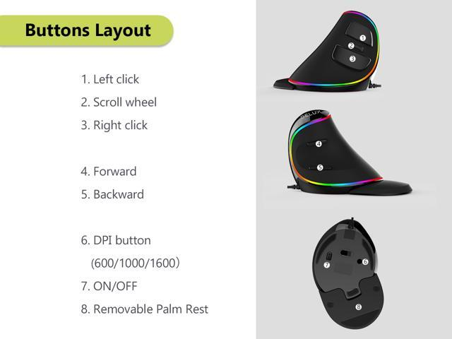Delux Ergonomic Vertical Mouse, RGB Wired Optical Mouse with 6 Buttons, 4000 DPI and Removable Palm Rest ( M618PLUS RGB-Black)