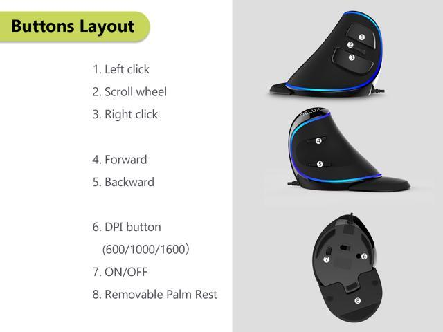 Delux Ergonomic Vertical Mouse, Wired Optical Mouse with Blue Light, 6 Buttons, 3 Adjustable DPI(800/1200/1600) and Removable Palm Rest (M618Plus Single Color-Black)