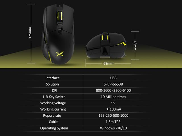 Delux Ergonomic Computer Mouse, Gaming and Office Dual Mode Wired Optical Mouse with 6400 Adjustable DPI and 7 Programmable Buttons (M522BU-Black)