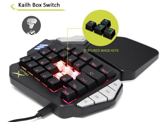Delux One Handed Mechanical Gaming Keyboard, RGB Single Handed Ergonomic Keyboard with 34 Programmable Buttons and Rubber Palm Rest (T9X-Black)