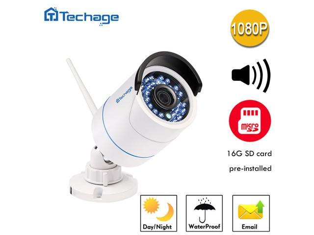 [Connect-to-Your-Own-WiFi Camera] Techage HD 1080P WiFi Audio Ip Camera 2.0MP Waterproof IP66 Nignt Vision Outdoor Security Camera Motion Detection with SD Card Slot (16G SD Card)