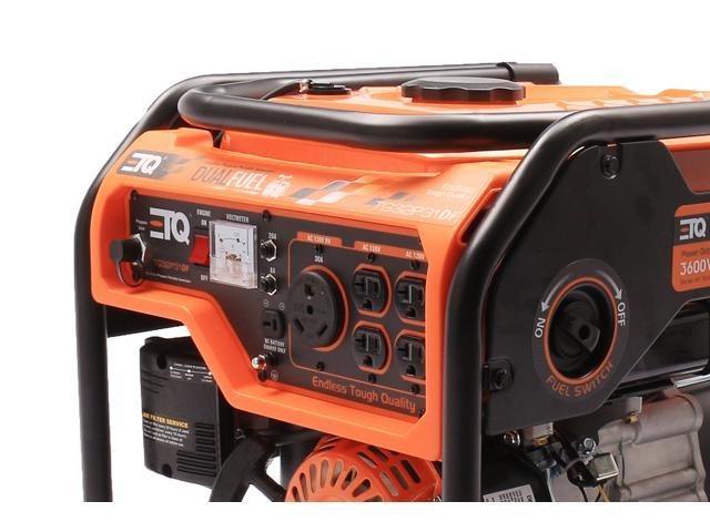 ETQ TG32P31DF 3600 Watt Dual Fuel Generator CARB Compliant with spark arrestor, Unique design folding handle for pulling