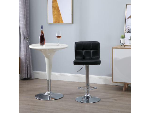 Samincom Set of 2 Simple Modern Style PU Leather Swivel Bar Stools with Back (Black)