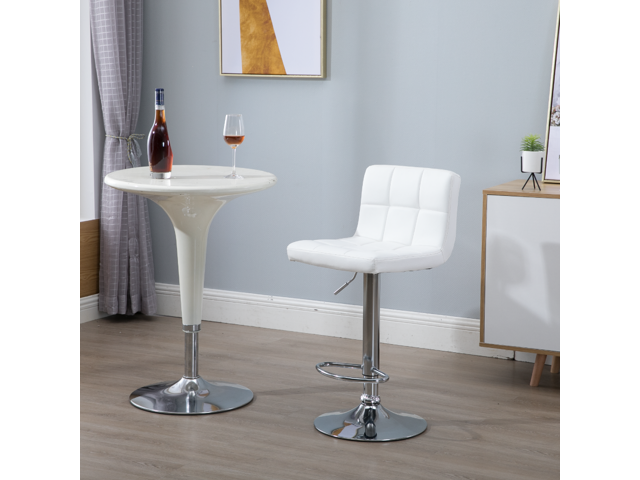 Samincom Set of 2 Simple Modern Style PU Leather Swivel Bar Stools with Back(White)