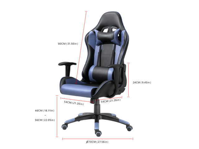 Samincom Racing Style Swivel Gaming Chair High-Back Computer Chair,with Headrest and Lumbar Support(Blue)