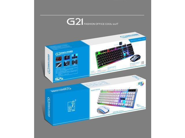 PandaTek New Mechanical Feeling Multicolor Backlit Wired Gaming Keyboard And 1600 DPI Mouse Combo - White