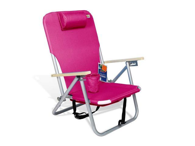 690grand Beach Backpack Chair Lightweight Folding Seat With Neck Pillow And Drink Holder