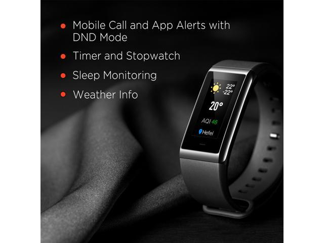 Amazfit Cor Fitness Band by Huami with All-day Heart Rate and Activity Tracking, 5 ATM Water Resistance, 4 Sport Modes, Mobile Notifications, Color LCD, US Version and Warranty (Charcoal Black)
