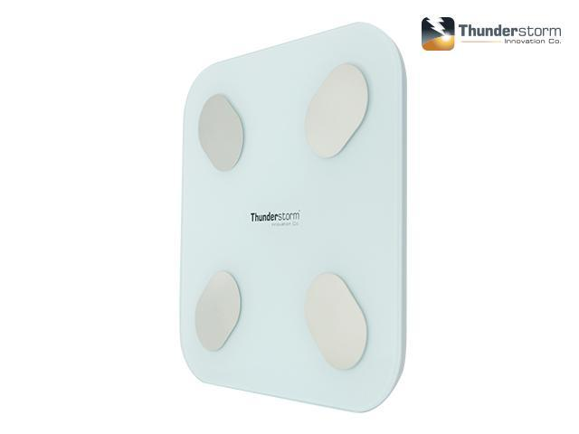 Thunderstorm Bluetooth Body Fat Digital Scale - Measures weight, body water, fat ratio, bone mass, BMI, BMR, visceral fat index, muscle weight and protein rate