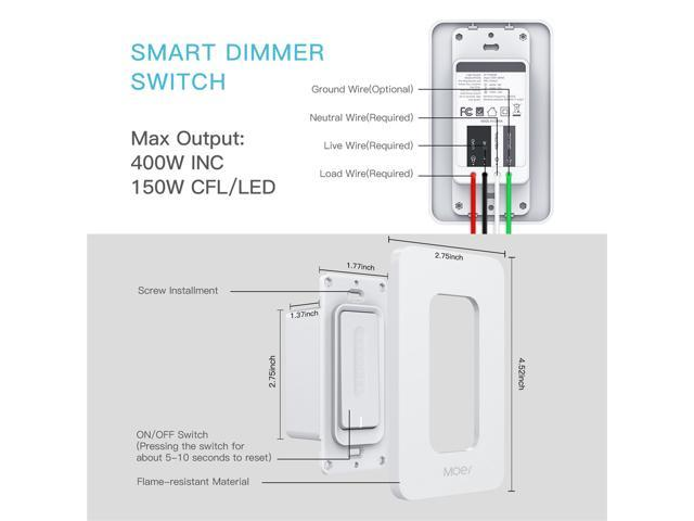 WiFi Smart Dimmer Light Switch Wireless Remote Control Anywhere Compatible with Alexa and Google Assistant Timing Function No Hub Required Neutral Wire Require (Dimmer Light Switch)