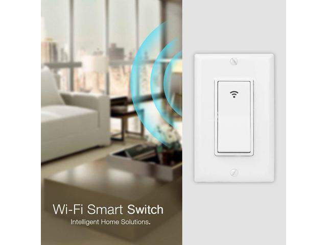 WiFi Smart Wall Light Switch Timing Function Suit for 1/2/3 Gang Switch Box Works with Alexa Google Home,No Hub Required Neutral Wire Required (White)