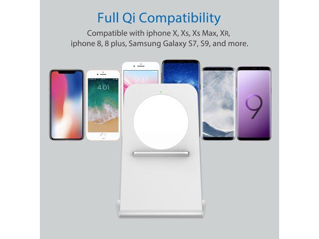 heecavs(2nd Generation) Qi certified Aluminum fast wireless charger stand for 7.5W iPhone X/iPhone 8/8s and for 10W Samsung Galaxy S9/S9 Plus/S8 Plus and for 5W all Qi enabled phones with AC adapter
