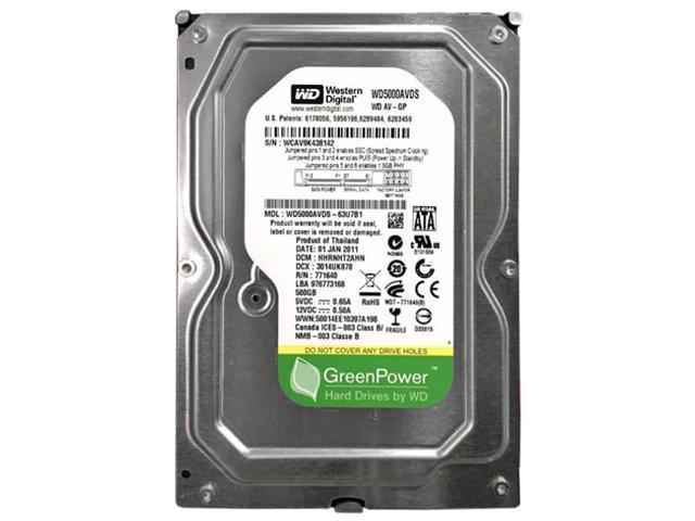 "Refurbished: WD Grade A WD5000AVDS 500GB 3.5"" HDD SATA 3.0 Gb/s AV-GP Desktop Internal Hard Drive 1 Year Warranty - OEM"