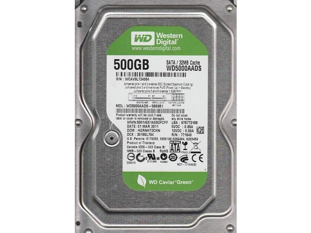"Refurbished: WD Grade A WD5000AADS 500GB 3.5"" HDD SATA 3.0Gb/s Green Desktop Internal Hard Drive 1 Year Warranty - OEM"