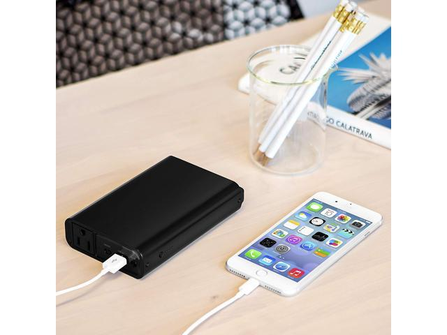 100 PERCENT MPU951BK Portable Charger with Outlet, 11,600 mAh, Power Bank with AC Outlet Charger, Power Pack for Phones and Other Electronics, USB & AC Charging Station