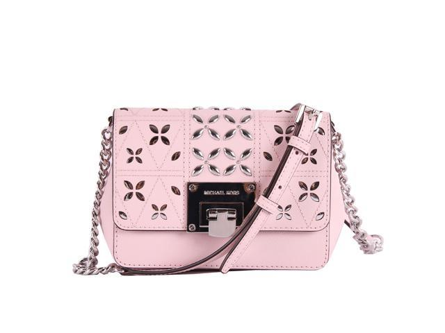 cc874cee967f Michael Kors Tina Stud Small Flap Bag Crossbody Blossom Pink Floral  Perforated ...