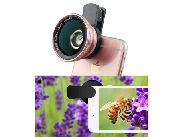 Universal Mobile Phone HD 2 in 1 Camera Lens Kit,0.6X Super Wide Angle Lens + 15X Macro Lens,Clip-On Cell Phone Lens for iPhone,Samsung, Android Smartphones