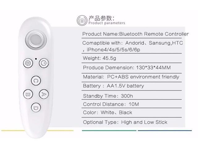 Universal Bluetooth Remote Controller Wireless Gamepad Mouse Joystick for 3D VR Glasses IPad Tablet PC Smart TV IOS Android Game