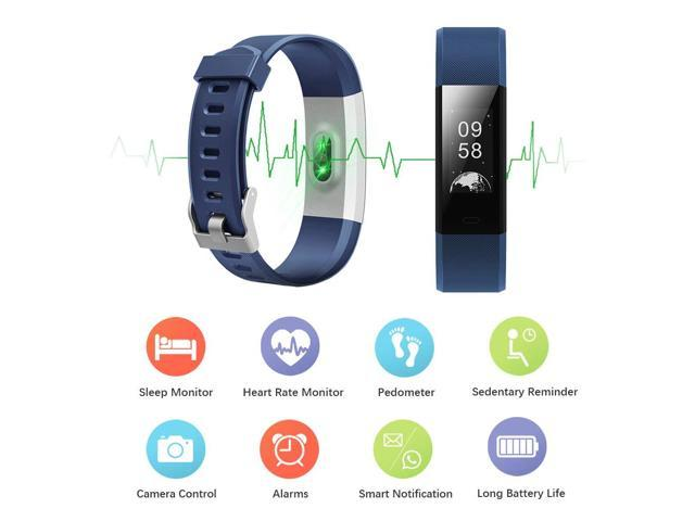 Fitness Tracker Waterproof, Touch Screen Activity SmartWatch Heart Rate Monitor Tracker Bluetooth Pedometer Calorie Counter ,Smart Bracelet Sleep Monitor for iPhone Samsung HuaWei Android  iOS Black