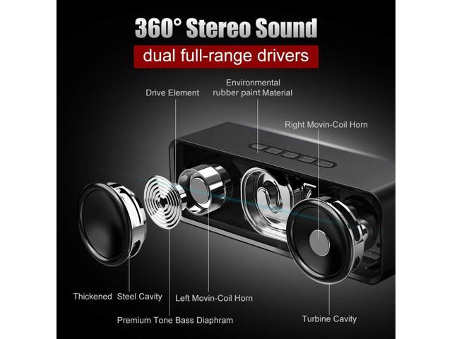 Muzili Bluetooth Speakers Outdoor Car Stero Sound, Slightly Waterproof, Microphone, Portable Wireless Speaker System Waterproof for Home,Outdoors, Car and Travel