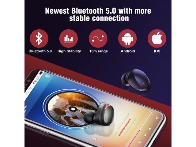 ARBILY True Bluetooth 5.0 Wireless Earbuds 3000mAH Charging Case, Automatic Pairing Deep Bass Waterproof Sport Wireless Bluetooth Headphones Headset Earphone Built-in Micfor Android