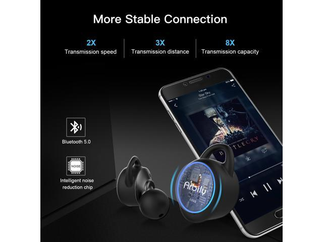 ARBILY Wireless Earbuds, True Bluetooth 5.0 Earbuds WiFi Stereo Deep Bass, Waterproof Sports Wireless Bluetooth Headset Headphone Earphones with Charging Case Built-in  Headset for Android iphone