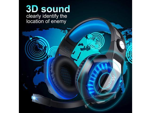 MUZILI  USB Gaming Headset GameK2 Surround Sound PC Gaming Headphone  with Noise Cancelling Mic LED 3.5mm Stereo Microphone Earmuff Headset,for PC Laptop Mac iPad Xbox One PS4 PSP
