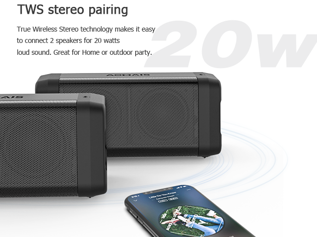 AOMAIS REAL SOUND Portable Bluetooth Speakers Loud Bass in Dual