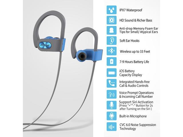 Mpow Flame Bluetooth Headphones, Bassup Technology HiFi Stereo in-Ear Wireless Earbuds, Waterproof IPX7 Earphones w/Mic, Case, 7-9 Hrs Playing Time, CVC6.0 Noise Cancelling Headsets